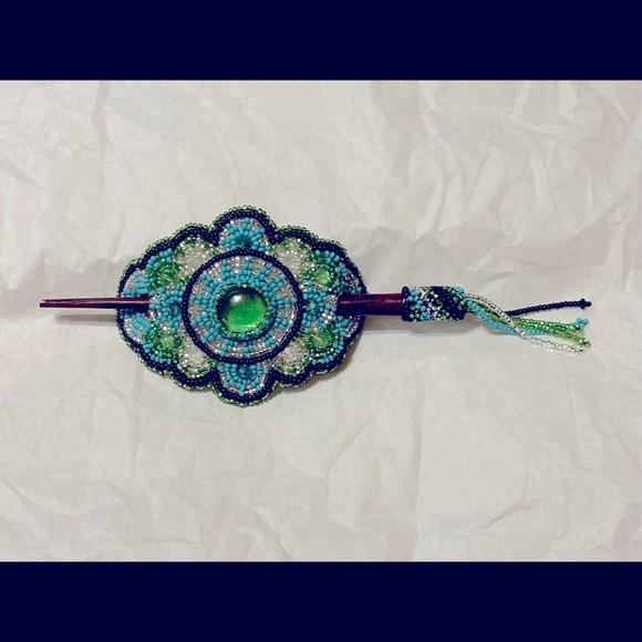 Beaded Native/Tribal Barrettes w/ Hair Pin NWOT